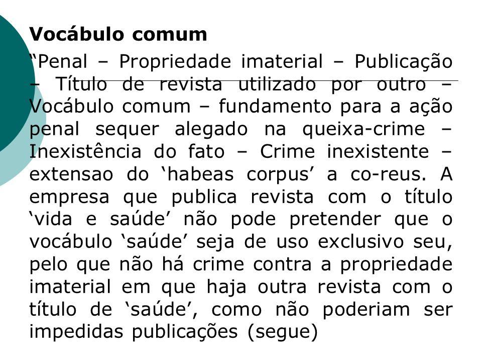 Vocábulo comum Penal – Propriedade imaterial – Publicação – Título de revista utilizado por outro – Vocábulo comum – fundamento para a ação penal sequ