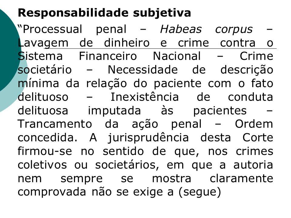 Responsabilidade subjetiva Processual penal – Habeas corpus – Lavagem de dinheiro e crime contra o Sistema Financeiro Nacional – Crime societário – Ne