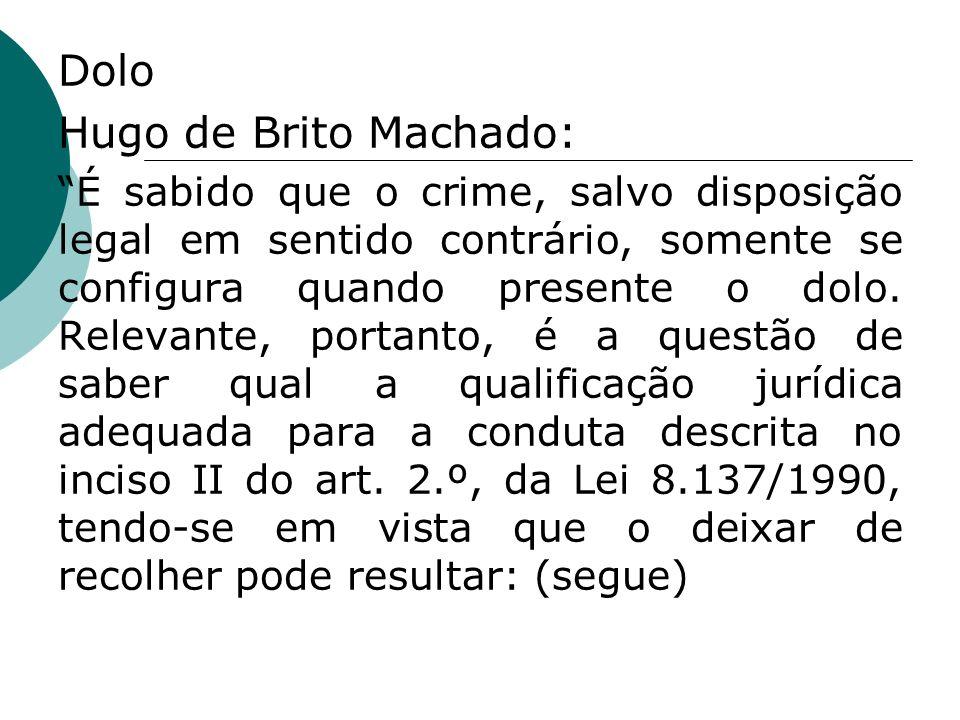 Dolo Hugo de Brito Machado: É sabido que o crime, salvo disposição legal em sentido contrário, somente se configura quando presente o dolo. Relevante,