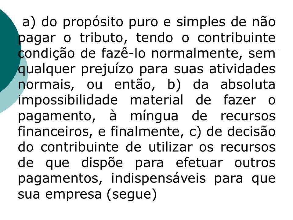 a) do propósito puro e simples de não pagar o tributo, tendo o contribuinte condição de fazê-lo normalmente, sem qualquer prejuízo para suas atividade