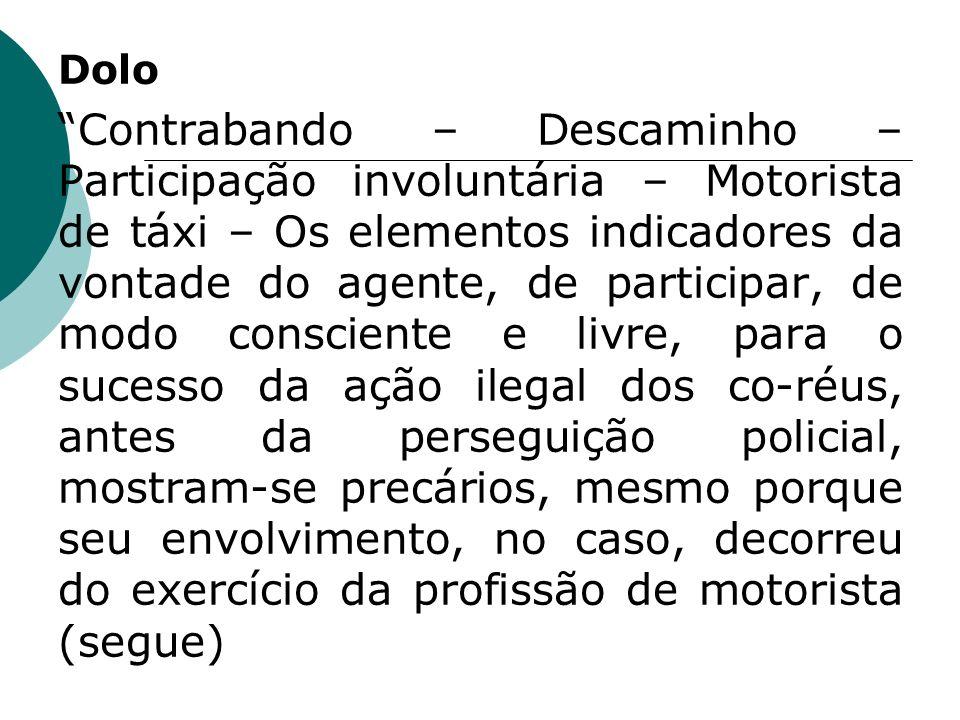 Dolo Contrabando – Descaminho – Participação involuntária – Motorista de táxi – Os elementos indicadores da vontade do agente, de participar, de modo