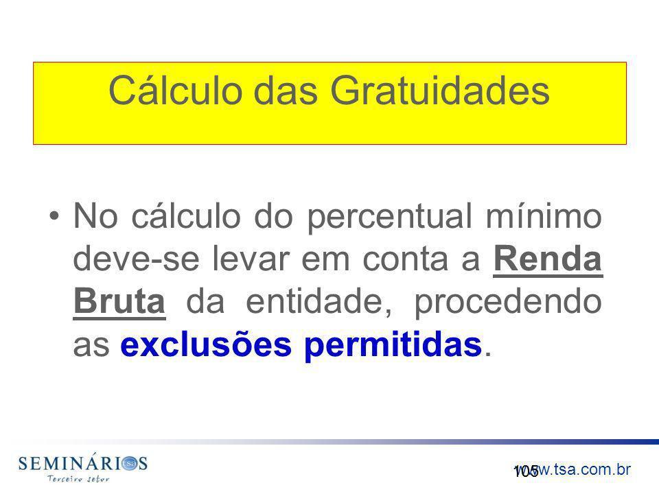 www.tsa.com.br Cálculo das Gratuidades No cálculo do percentual mínimo deve-se levar em conta a Renda Bruta da entidade, procedendo as exclusões permi
