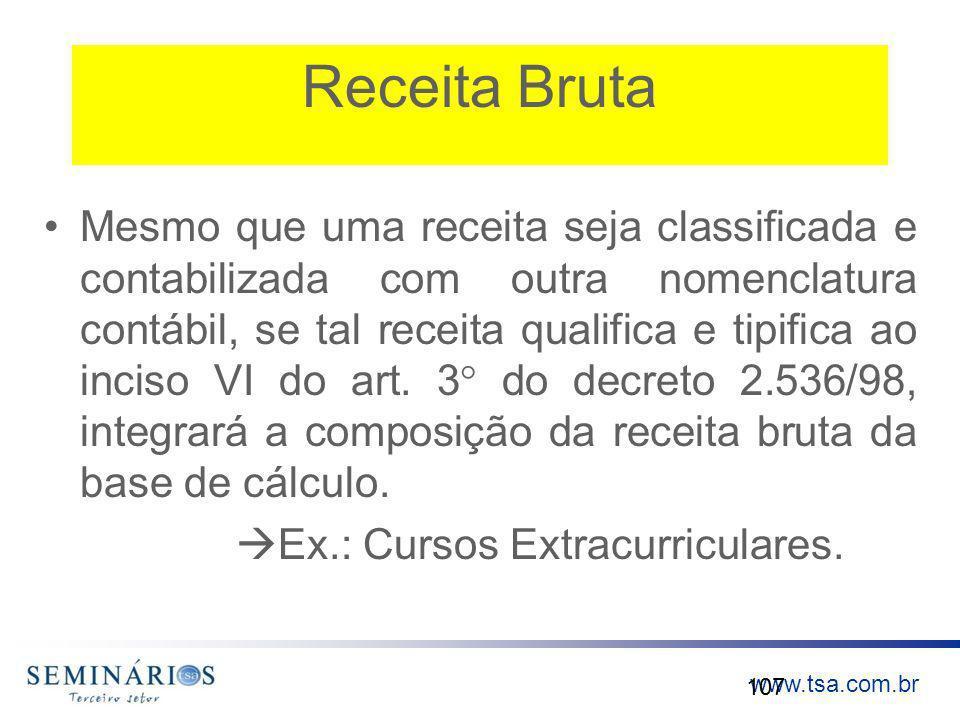 www.tsa.com.br Receita Bruta Mesmo que uma receita seja classificada e contabilizada com outra nomenclatura contábil, se tal receita qualifica e tipif