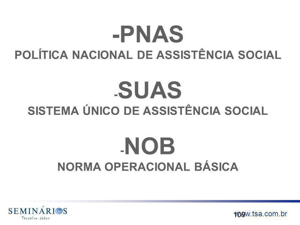 www.tsa.com.br -PNAS POLÍTICA NACIONAL DE ASSISTÊNCIA SOCIAL - SUAS SISTEMA ÚNICO DE ASSISTÊNCIA SOCIAL - NOB NORMA OPERACIONAL BÁSICA 109