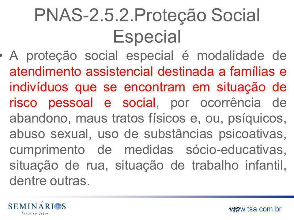 www.tsa.com.br PNAS-2.5.2.Proteção Social Especial A proteção social especial é modalidade de atendimento assistencial destinada a famílias e indivídu