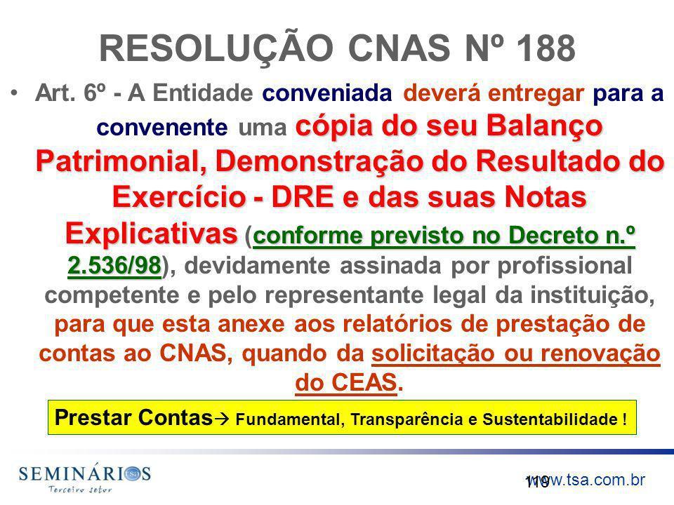 www.tsa.com.br RESOLUÇÃO CNAS Nº 188 cópia do seu Balanço Patrimonial, Demonstração do Resultado do Exercício - DRE e das suas Notas Explicativas conf