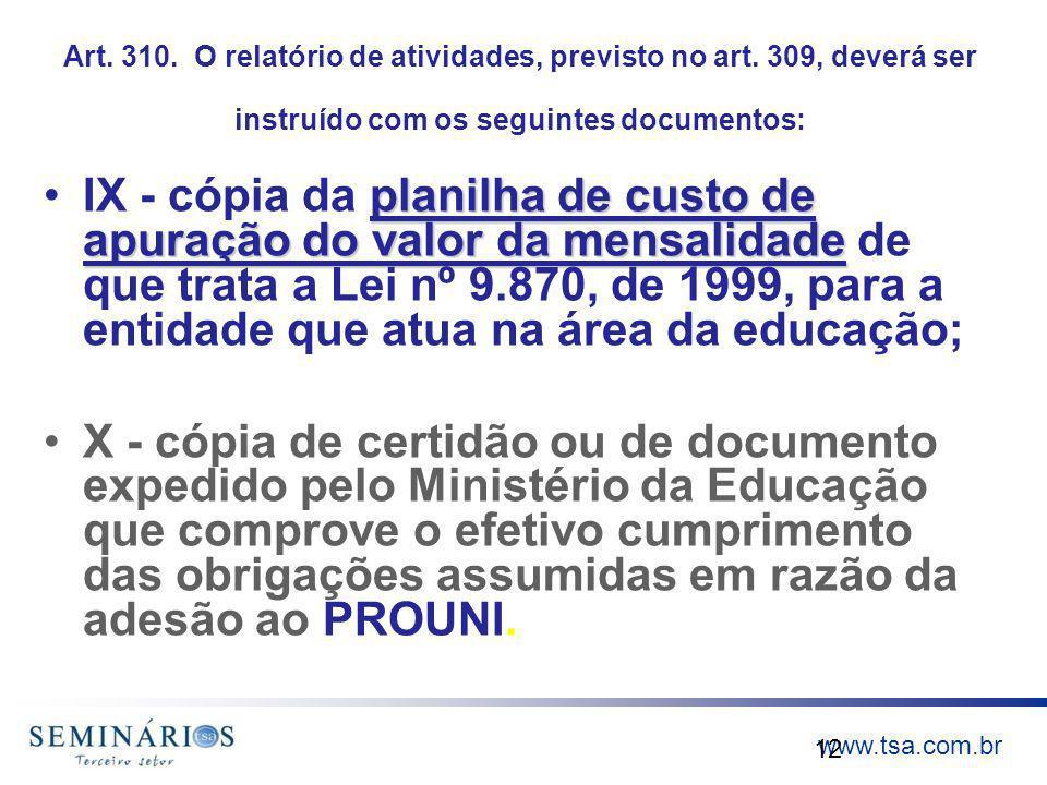 www.tsa.com.br Art. 310. O relatório de atividades, previsto no art. 309, deverá ser instruído com os seguintes documentos: planilha de custo de apura