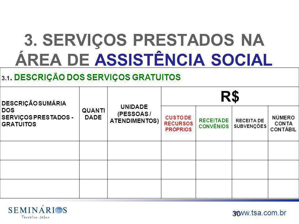www.tsa.com.br 3. SERVIÇOS PRESTADOS NA ÁREA DE ASSISTÊNCIA SOCIAL 30 3.1. DESCRIÇÃO DOS SERVIÇOS GRATUITOS DESCRIÇÃO SUMÁRIA DOS SERVIÇOS PRESTADOS -