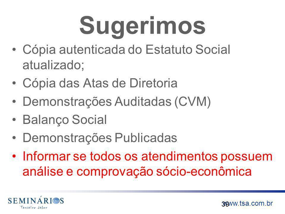 www.tsa.com.br Sugerimos Cópia autenticada do Estatuto Social atualizado; Cópia das Atas de Diretoria Demonstrações Auditadas (CVM) Balanço Social Dem