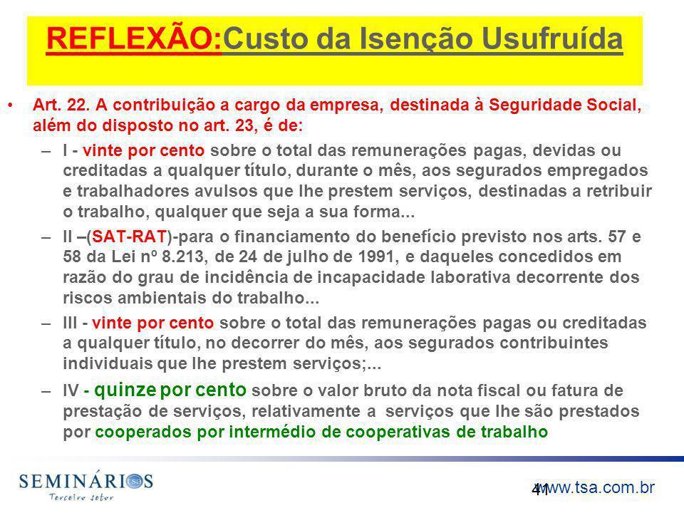 www.tsa.com.br REFLEXÃO:Custo da Isenção Usufruída Art. 22. A contribuição a cargo da empresa, destinada à Seguridade Social, além do disposto no art.