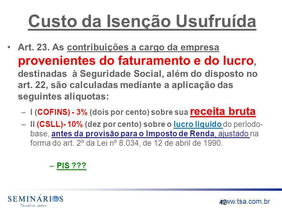 www.tsa.com.br Custo da Isenção Usufruída Art. 23. As contribuições a cargo da empresa provenientes do faturamento e do lucro, destinadas à Seguridade