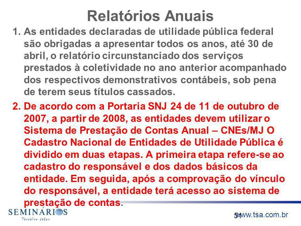www.tsa.com.br Relatórios Anuais 1.As entidades declaradas de utilidade pública federal são obrigadas a apresentar todos os anos, até 30 de abril, o r
