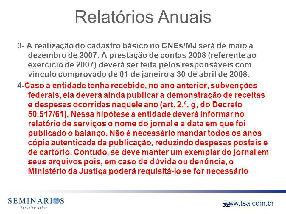 www.tsa.com.br Relatórios Anuais 3- A realização do cadastro básico no CNEs/MJ será de maio a dezembro de 2007. A prestação de contas 2008 (referente