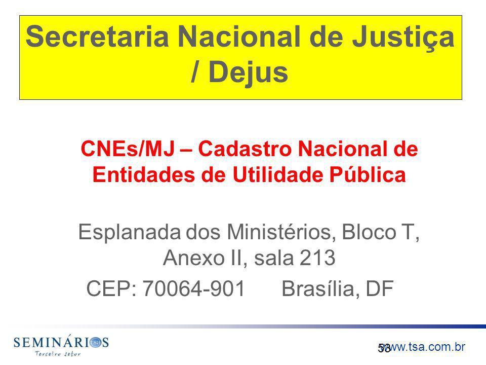 www.tsa.com.br Secretaria Nacional de Justiça / Dejus CNEs/MJ – Cadastro Nacional de Entidades de Utilidade Pública Esplanada dos Ministérios, Bloco T