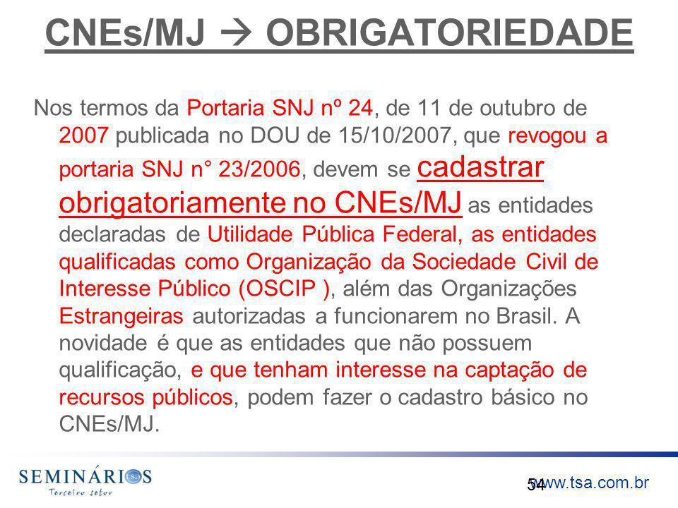 www.tsa.com.br CNEs/MJ OBRIGATORIEDADE Nos termos da Portaria SNJ nº 24, de 11 de outubro de 2007 publicada no DOU de 15/10/2007, que revogou a portar