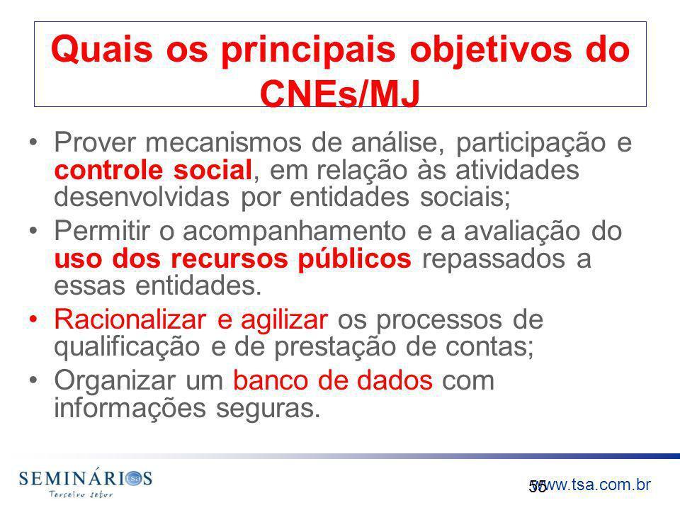 www.tsa.com.br Quais os principais objetivos do CNEs/MJ Prover mecanismos de análise, participação e controle social, em relação às atividades desenvo
