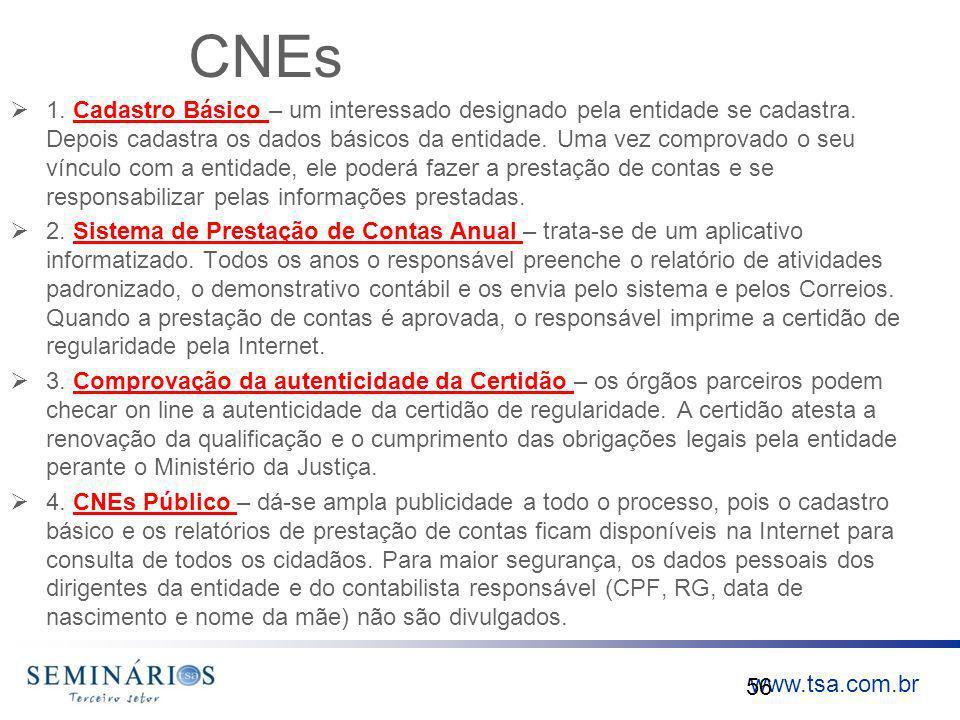www.tsa.com.br CNEs 1. Cadastro Básico – um interessado designado pela entidade se cadastra. Depois cadastra os dados básicos da entidade. Uma vez com