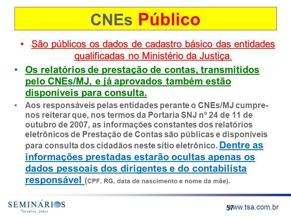 www.tsa.com.br CNEs Público São públicos os dados de cadastro básico das entidades qualificadas no Ministério da Justiça.São públicos os dados de cada