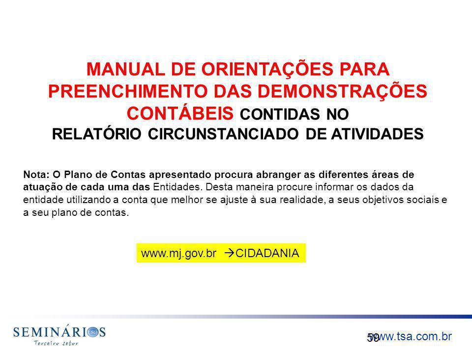 www.tsa.com.br 59 MANUAL DE ORIENTAÇÕES PARA PREENCHIMENTO DAS DEMONSTRAÇÕES CONTÁBEIS CONTIDAS NO RELATÓRIO CIRCUNSTANCIADO DE ATIVIDADES Nota: O Pla