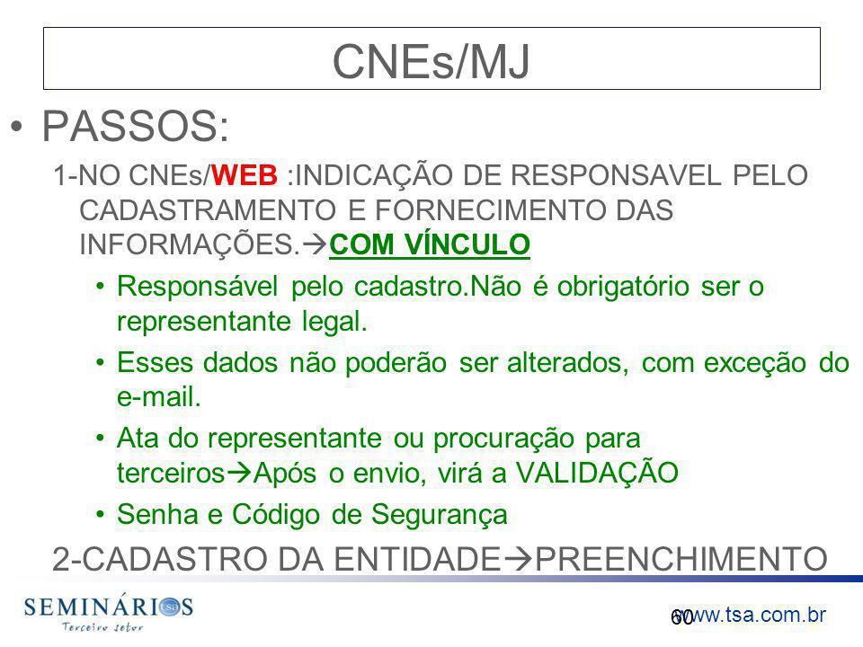 www.tsa.com.br CNEs/MJ PASSOS: 1-NO CNEs/WEB :INDICAÇÃO DE RESPONSAVEL PELO CADASTRAMENTO E FORNECIMENTO DAS INFORMAÇÕES. COM VÍNCULO Responsável pelo