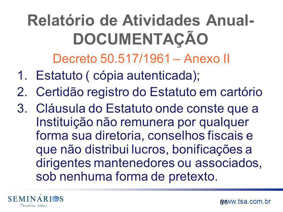 www.tsa.com.br Relatório de Atividades Anual- DOCUMENTAÇÃO Decreto 50.517/1961 – Anexo II 1.Estatuto ( cópia autenticada); 2.Certidão registro do Esta