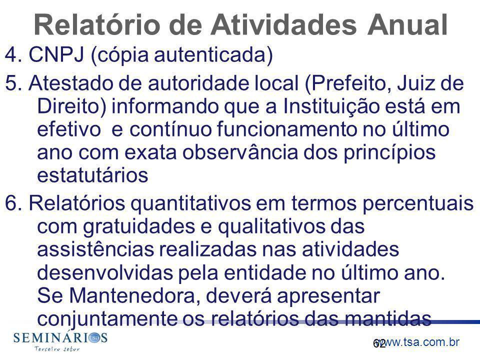 www.tsa.com.br Relatório de Atividades Anual 4. CNPJ (cópia autenticada) 5. Atestado de autoridade local (Prefeito, Juiz de Direito) informando que a