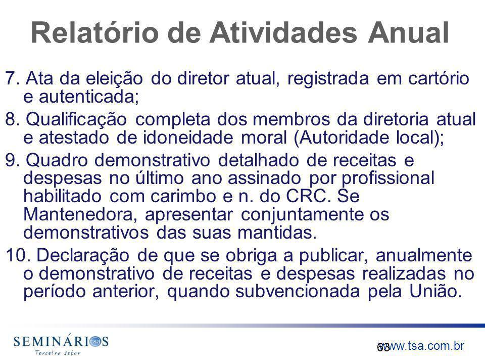 www.tsa.com.br Relatório de Atividades Anual 7. Ata da eleição do diretor atual, registrada em cartório e autenticada; 8. Qualificação completa dos me