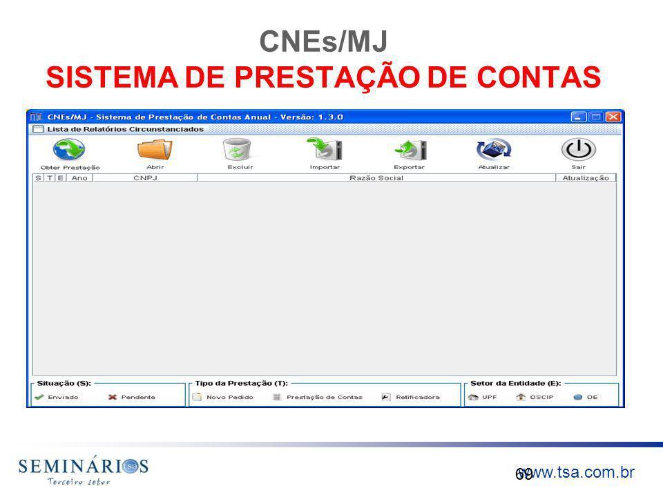 www.tsa.com.br CNEs/MJ SISTEMA DE PRESTAÇÃO DE CONTAS 69