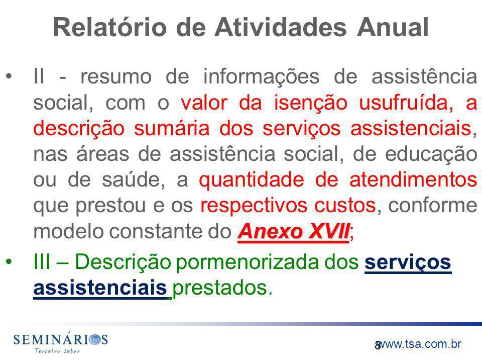www.tsa.com.br Relatório de Atividades Anual Anexo XVIIII - resumo de informações de assistência social, com o valor da isenção usufruída, a descrição