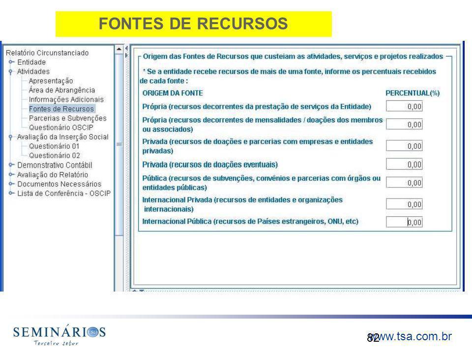 www.tsa.com.br FONTES DE RECURSOS 82