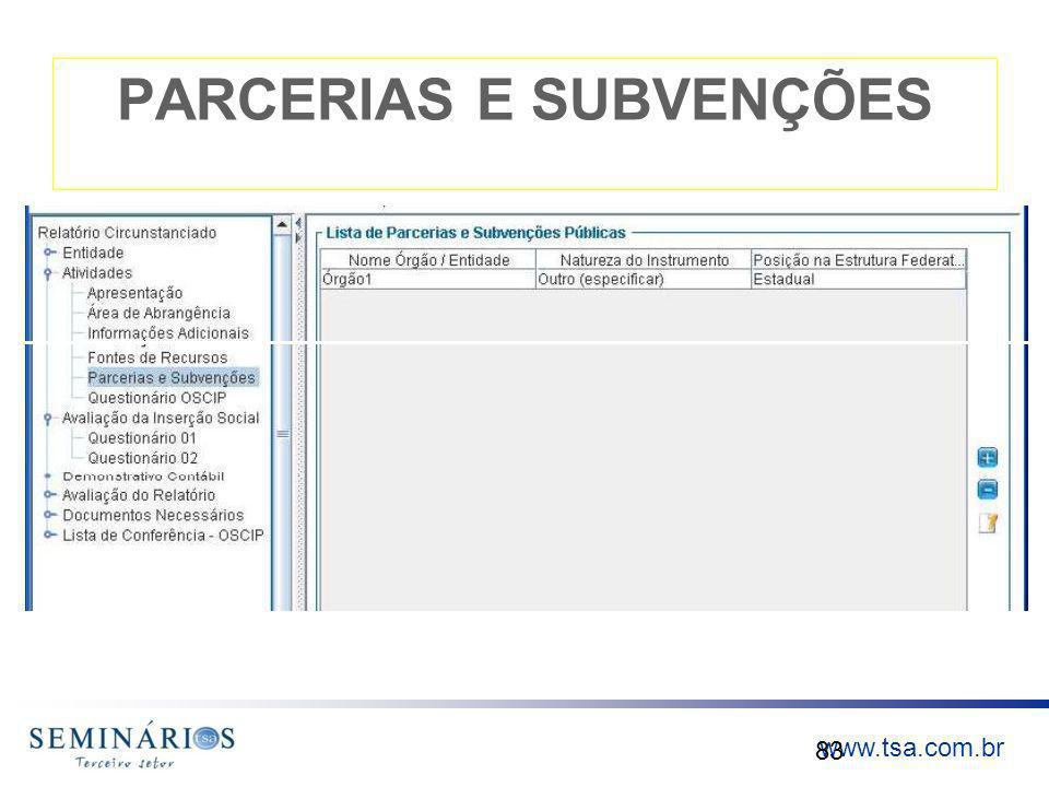 www.tsa.com.br PARCERIAS E SUBVENÇÕES 83