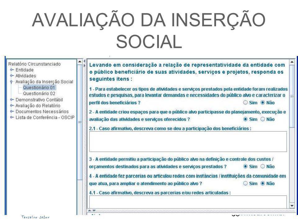 www.tsa.com.br AVALIAÇÃO DA INSERÇÃO SOCIAL 85 www.anec.org.br