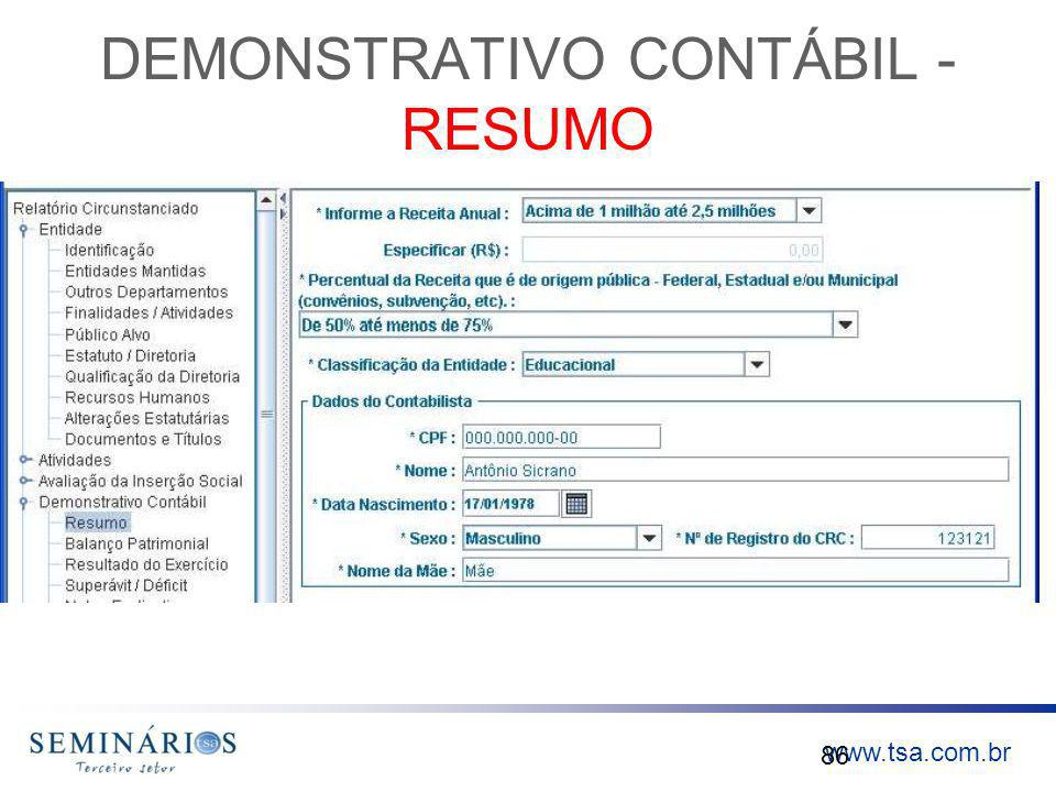 www.tsa.com.br DEMONSTRATIVO CONTÁBIL - RESUMO 86