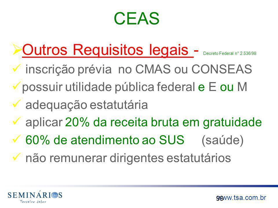 www.tsa.com.br CEAS Outros Requisitos legais - Decreto Federal n° 2.536/98 inscrição prévia no CMAS ou CONSEAS possuir utilidade pública federal e E o