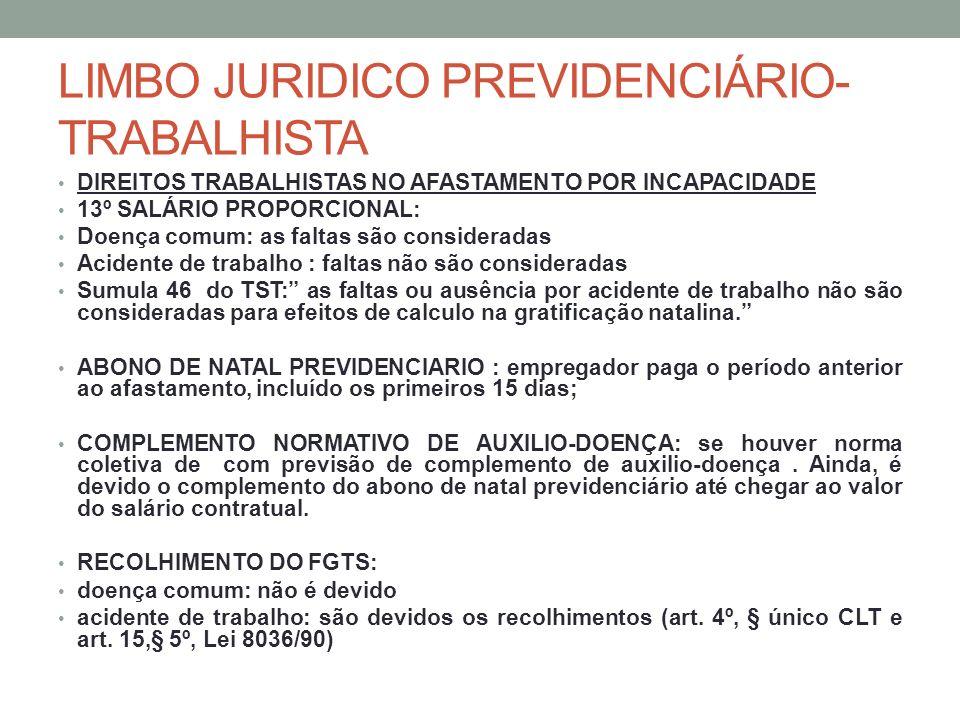 LIMBO JURIDICO PREVIDENCIÁRIO- TRABALHISTA DIREITOS TRABALHISTAS NO AFASTAMENTO POR INCAPACIDADE 13º SALÁRIO PROPORCIONAL: Doença comum: as faltas são