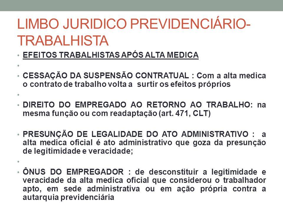 LIMBO JURIDICO PREVIDENCIÁRIO- TRABALHISTA EFEITOS TRABALHISTAS APÓS ALTA MEDICA CESSAÇÃO DA SUSPENSÃO CONTRATUAL : Com a alta medica o contrato de tr