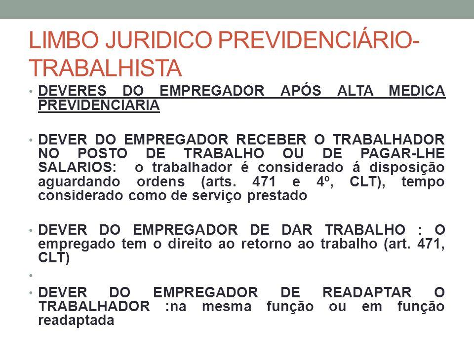 LIMBO JURIDICO PREVIDENCIÁRIO- TRABALHISTA DEVERES DO EMPREGADOR APÓS ALTA MEDICA PREVIDENCIARIA DEVER DO EMPREGADOR RECEBER O TRABALHADOR NO POSTO DE TRABALHO OU DE PAGAR-LHE SALARIOS: o trabalhador é considerado á disposição aguardando ordens (arts.