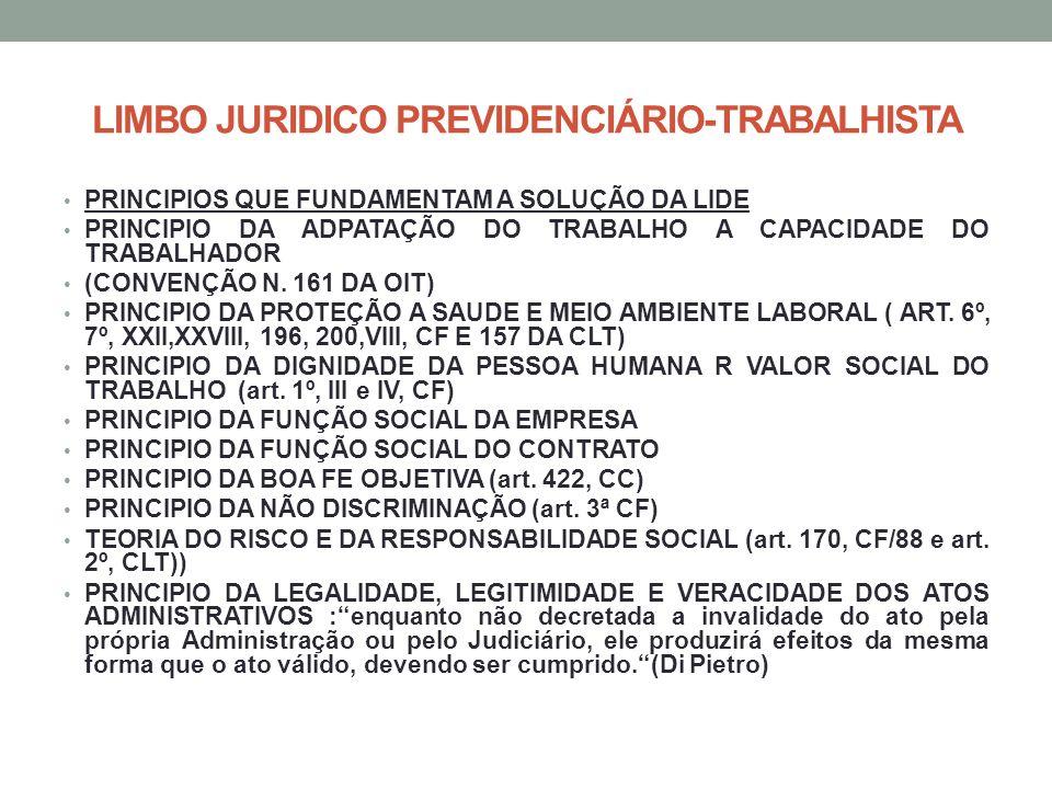 LIMBO JURIDICO PREVIDENCIÁRIO-TRABALHISTA PRINCIPIOS QUE FUNDAMENTAM A SOLUÇÃO DA LIDE PRINCIPIO DA ADPATAÇÃO DO TRABALHO A CAPACIDADE DO TRABALHADOR (CONVENÇÃO N.