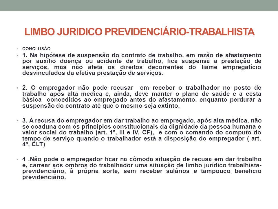 LIMBO JURIDICO PREVIDENCIÁRIO-TRABALHISTA CONCLUSÃO 1. Na hipótese de suspensão do contrato de trabalho, em razão de afastamento por auxílio doença ou