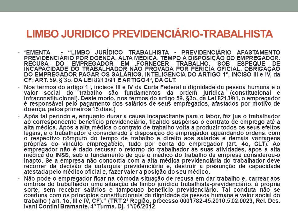 LIMBO JURIDICO PREVIDENCIÁRIO-TRABALHISTA *EMENTA - LIMBO JURÍDICO TRABALHISTA - PREVIDENCIÁRIO AFASTAMENTO PREVIDENCIÁRIO POR DOENÇA. ALTA MÉDICA. TE