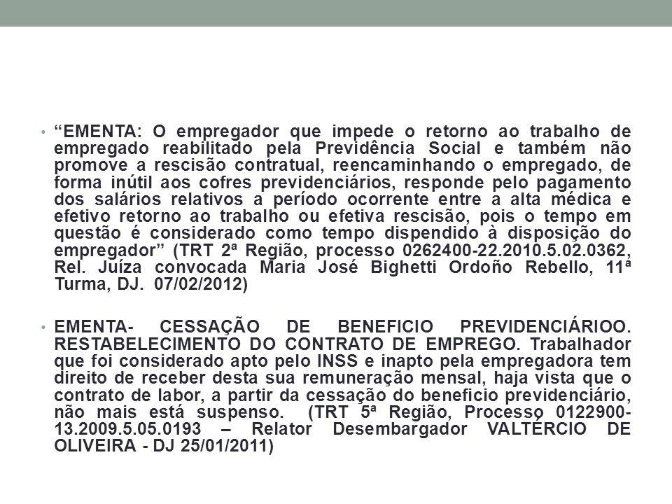 EMENTA: O empregador que impede o retorno ao trabalho de empregado reabilitado pela Previdência Social e também não promove a rescisão contratual, ree