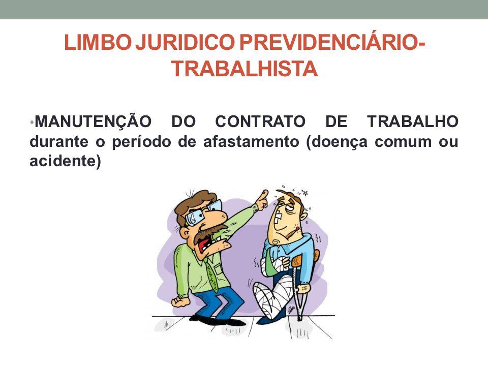LIMBO JURIDICO PREVIDENCIÁRIO- TRABALHISTA MANUTENÇÃO DO CONTRATO DE TRABALHO durante o período de afastamento (doença comum ou acidente)