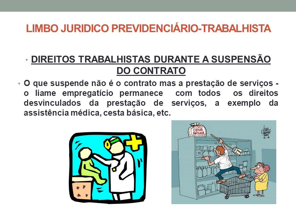 LIMBO JURIDICO PREVIDENCIÁRIO-TRABALHISTA DIREITOS TRABALHISTAS DURANTE A SUSPENSÃO DO CONTRATO O que suspende não é o contrato mas a prestação de ser