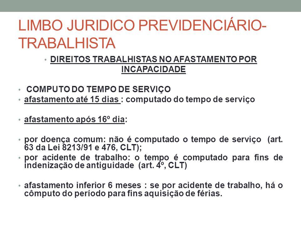 LIMBO JURIDICO PREVIDENCIÁRIO- TRABALHISTA DIREITOS TRABALHISTAS NO AFASTAMENTO POR INCAPACIDADE COMPUTO DO TEMPO DE SERVIÇO afastamento até 15 dias :