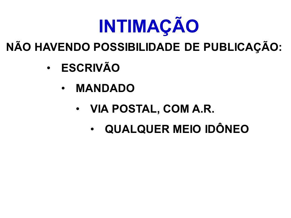INTIMAÇÃO NÃO HAVENDO POSSIBILIDADE DE PUBLICAÇÃO: ESCRIVÃO MANDADO VIA POSTAL, COM A.R. QUALQUER MEIO IDÔNEO