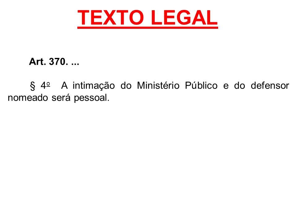 TEXTO LEGAL Art. 370.... § 4 o A intimação do Ministério Público e do defensor nomeado será pessoal.