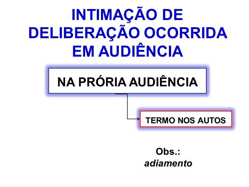 INTIMAÇÃO DE DELIBERAÇÃO OCORRIDA EM AUDIÊNCIA NA PRÓRIA AUDIÊNCIA Obs.: adiamento TERMO NOS AUTOS