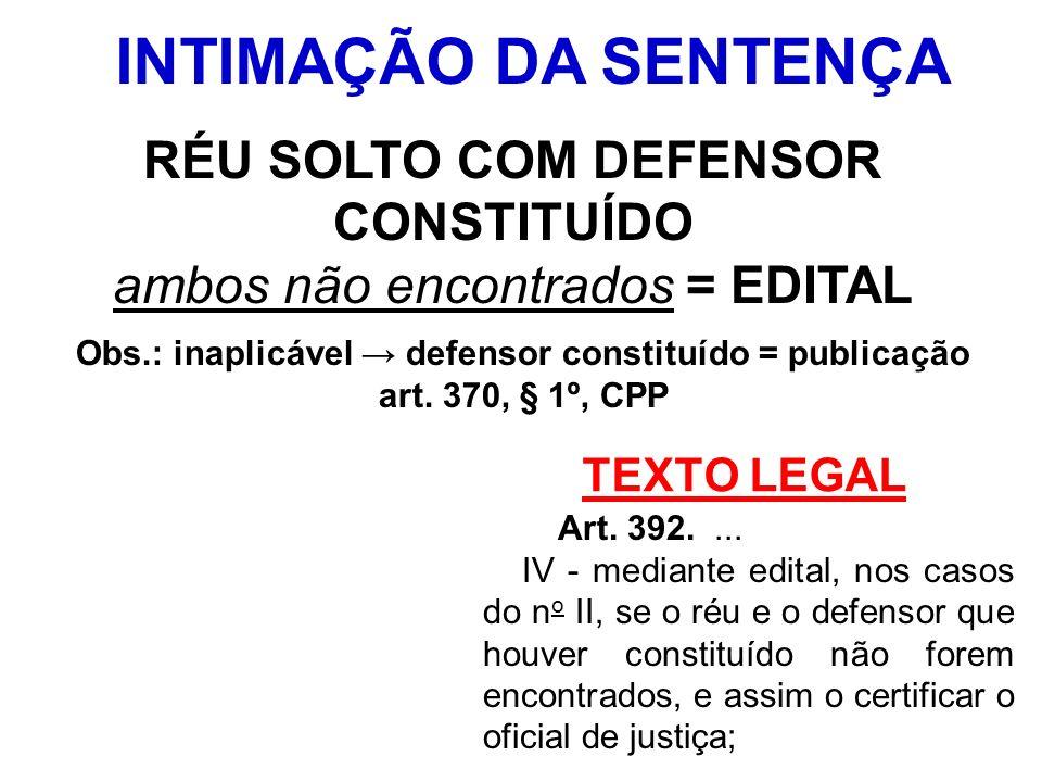 TEXTO LEGAL Art. 392.... IV - mediante edital, nos casos do n o II, se o réu e o defensor que houver constituído não forem encontrados, e assim o cert