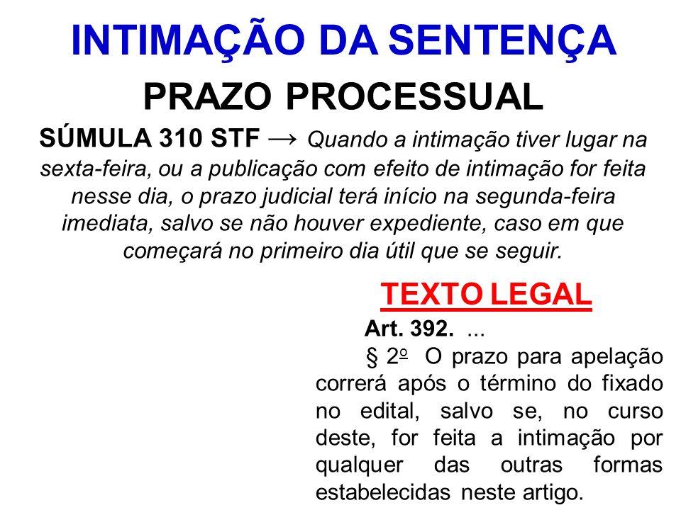 TEXTO LEGAL Art. 392.... § 2 o O prazo para apelação correrá após o término do fixado no edital, salvo se, no curso deste, for feita a intimação por q