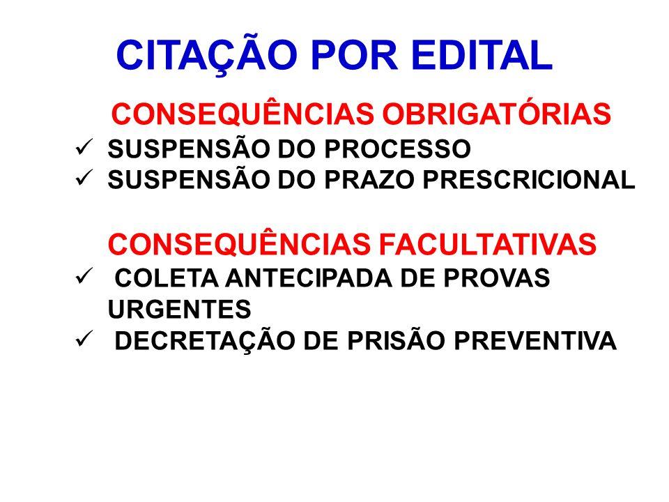 CITAÇÃO POR EDITAL CONSEQUÊNCIAS OBRIGATÓRIAS SUSPENSÃO DO PROCESSO SUSPENSÃO DO PRAZO PRESCRICIONAL CONSEQUÊNCIAS FACULTATIVAS COLETA ANTECIPADA DE P